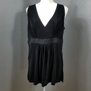 Chicos Travelers Black Top V Neck Wrap Tunic Top L